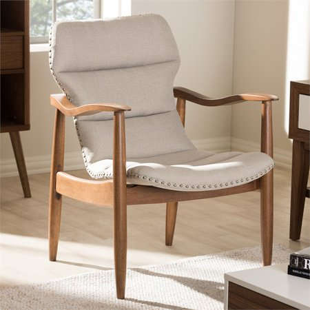 Modern Light Beige Fabric and Walnut Brown Finished Wood Lounge Chair $218.85