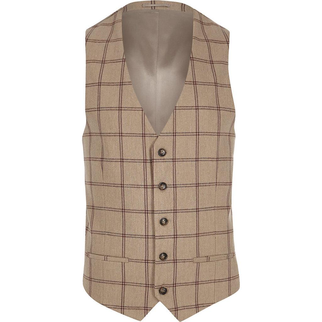 Cream check suit vest $20.00