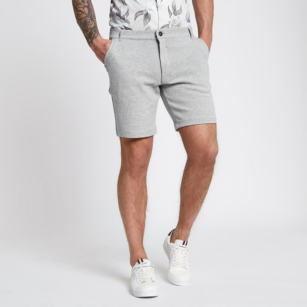 Grey tailored pique slim fit shorts $14.00