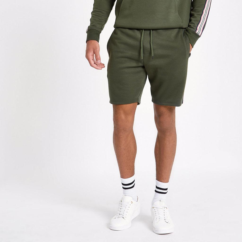 Dark green tape shorts $50.00