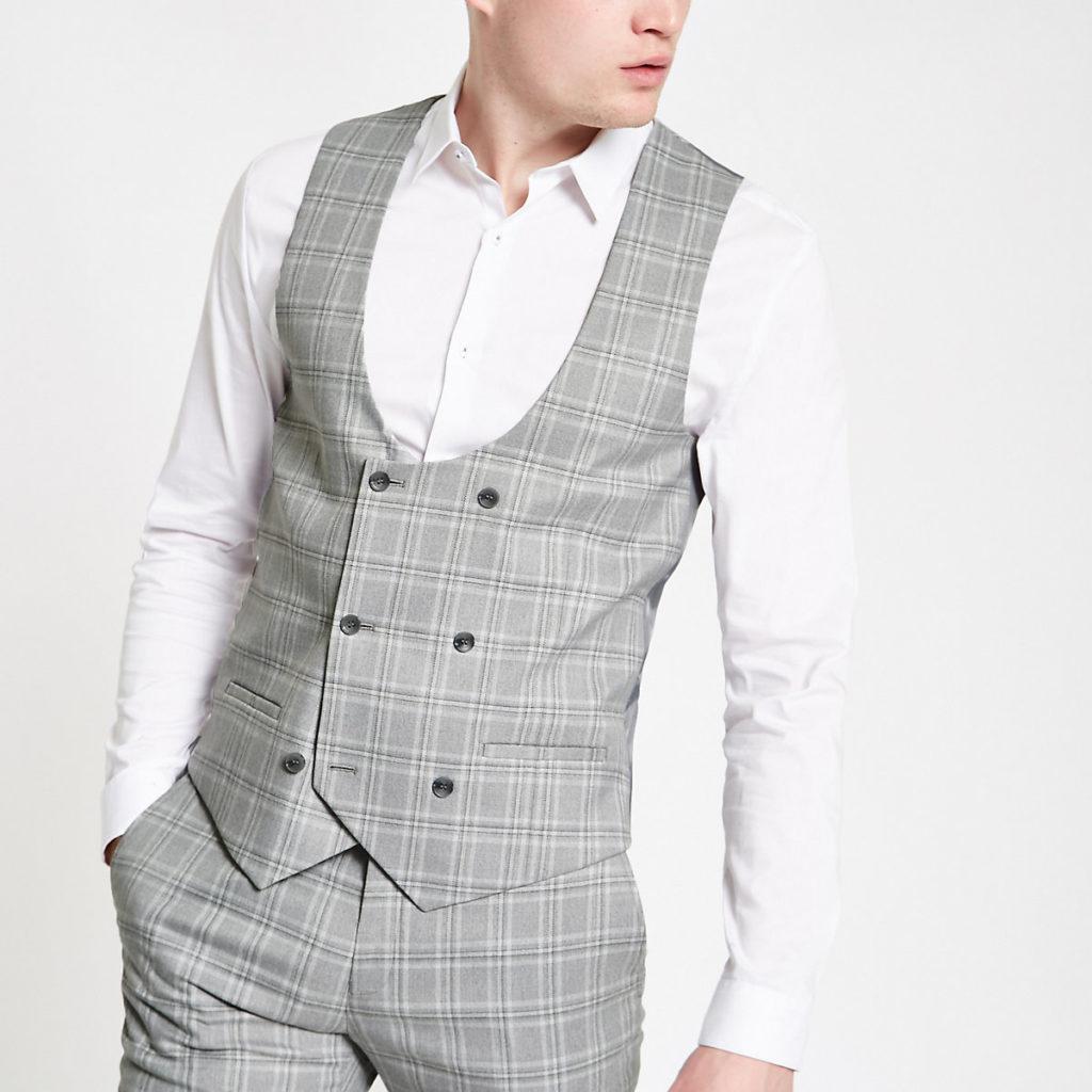 Grey check suit vest $80.00