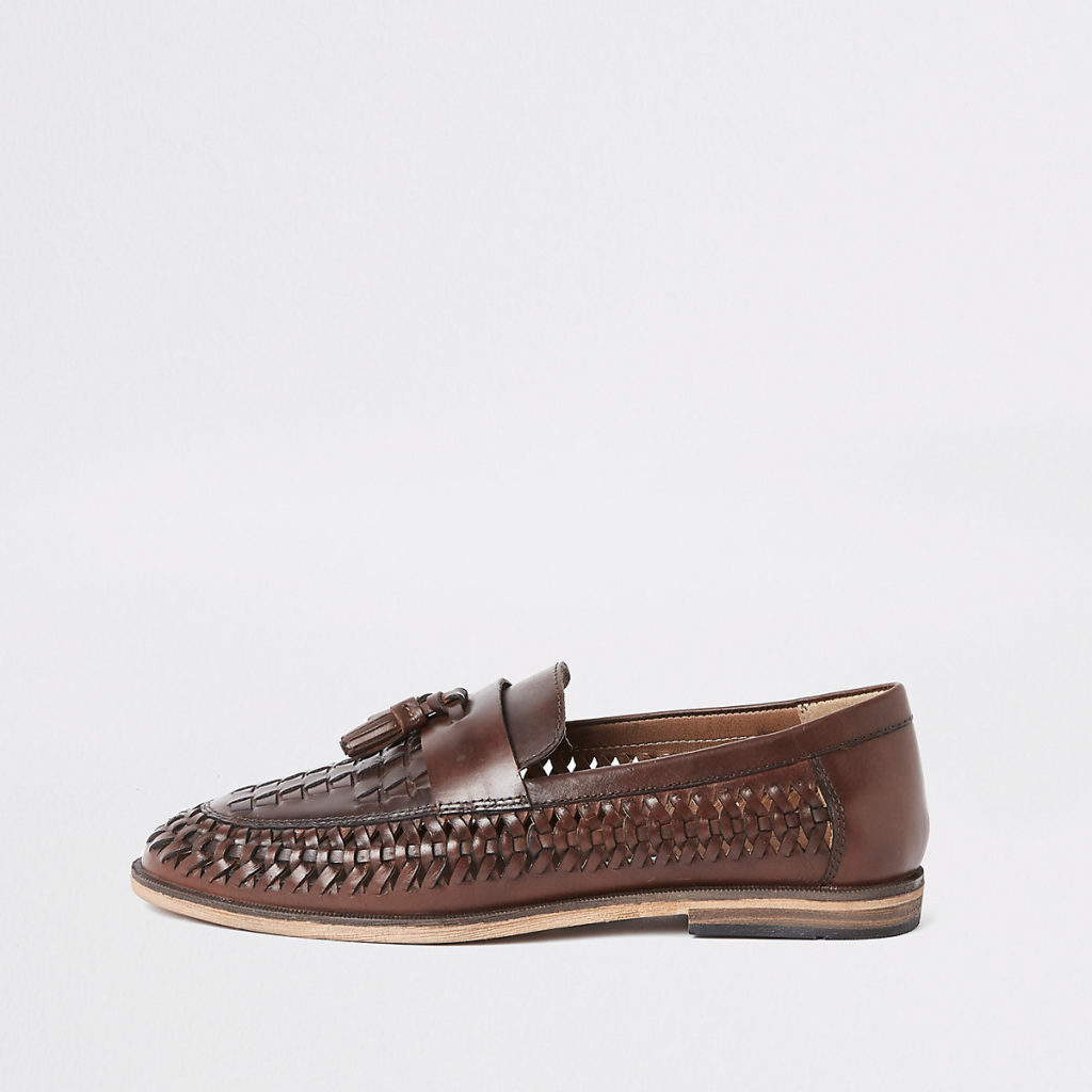leather woven tassel front loafers $90.00