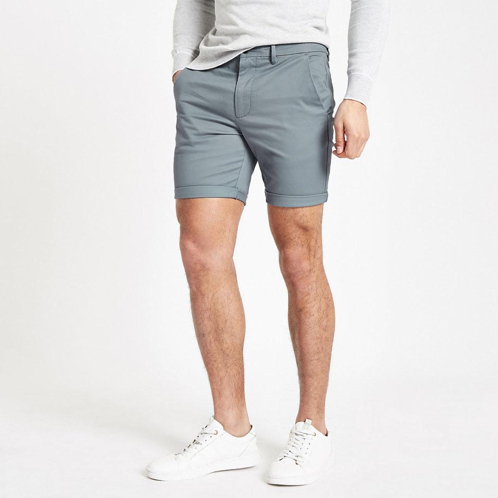 Blue skinny chino shorts $44.00
