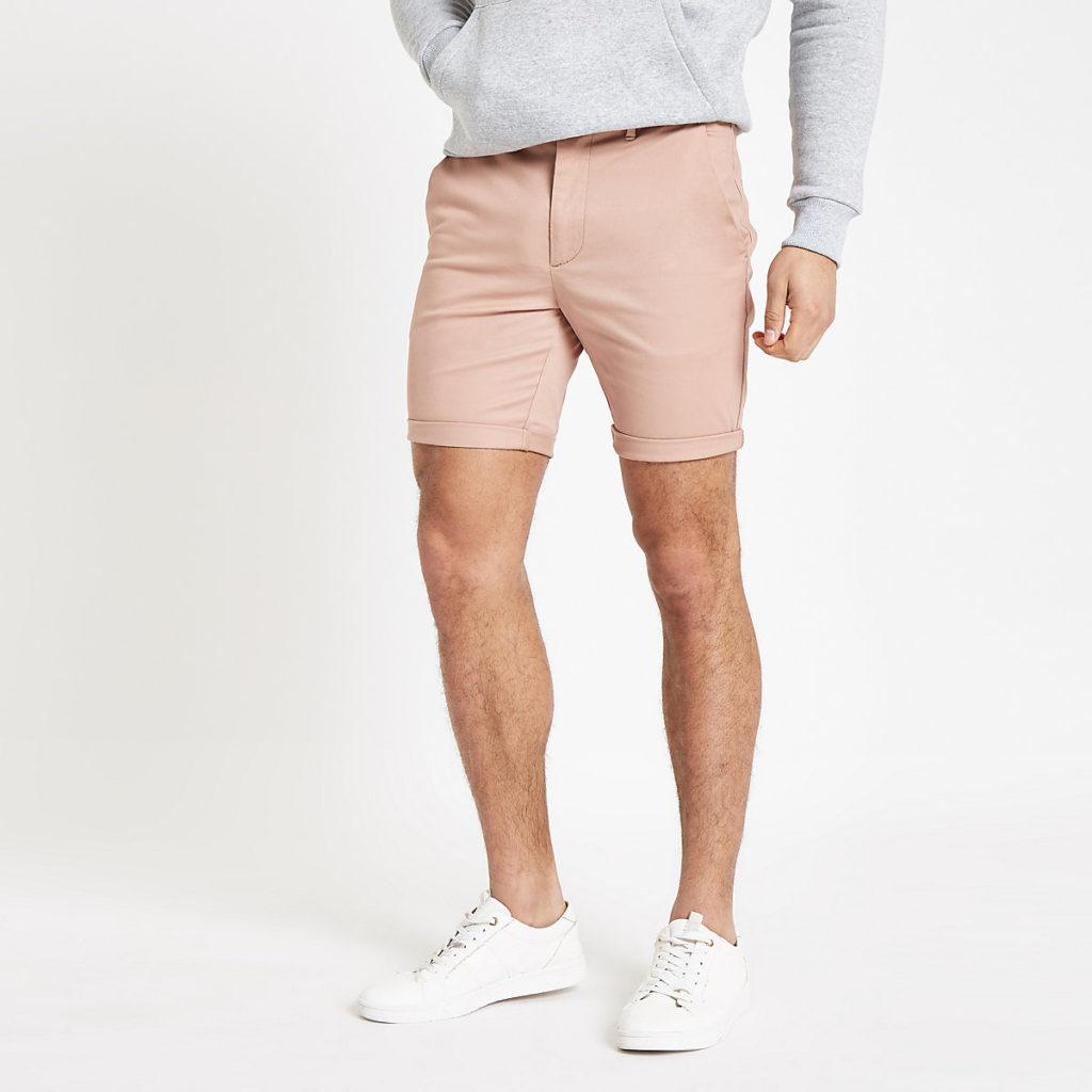 Pink skinny chino shorts $44.00