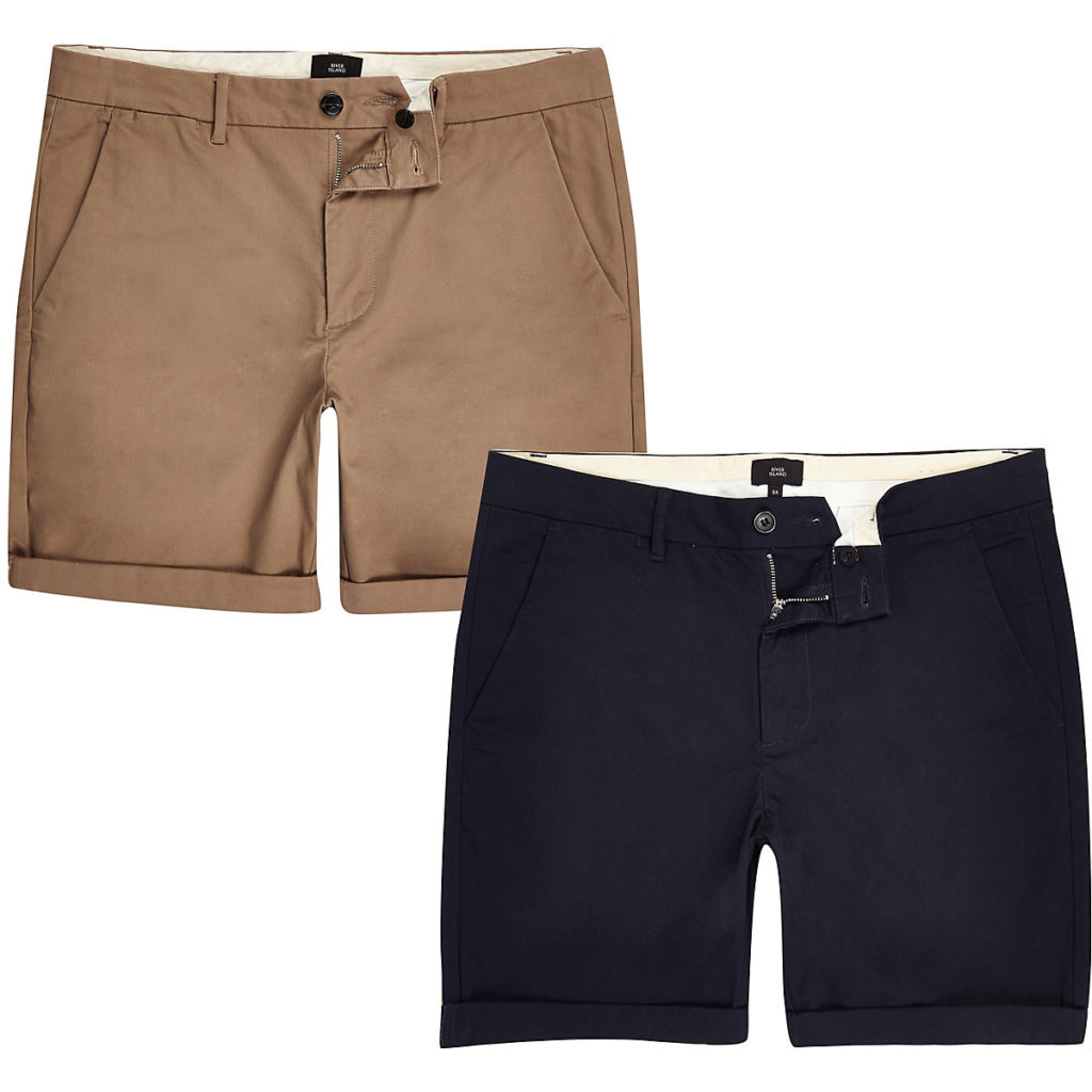 Brown and navy skinny chino shorts 2 pack $60.00