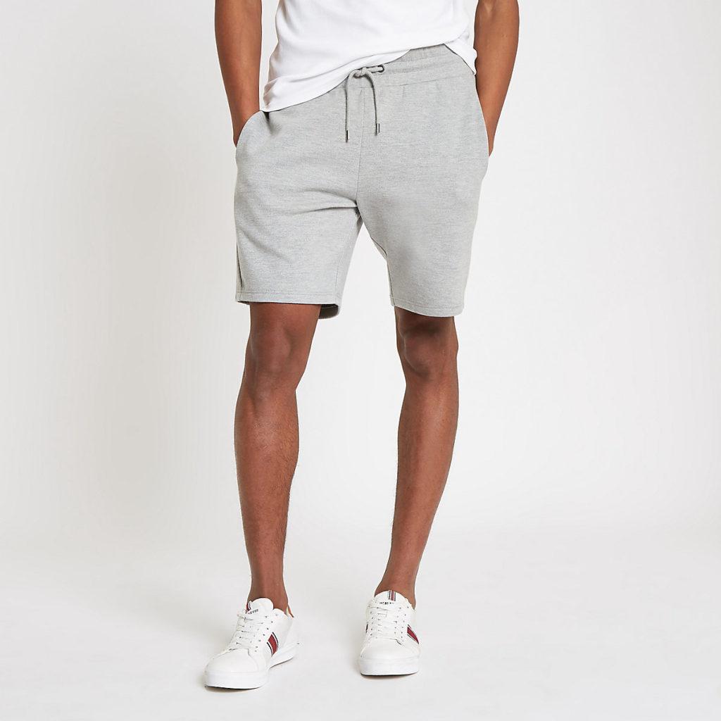Grey marl pique shorts $40.00