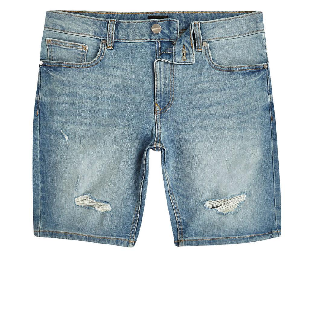 Big and Tall light blue wash denim shorts $64.00