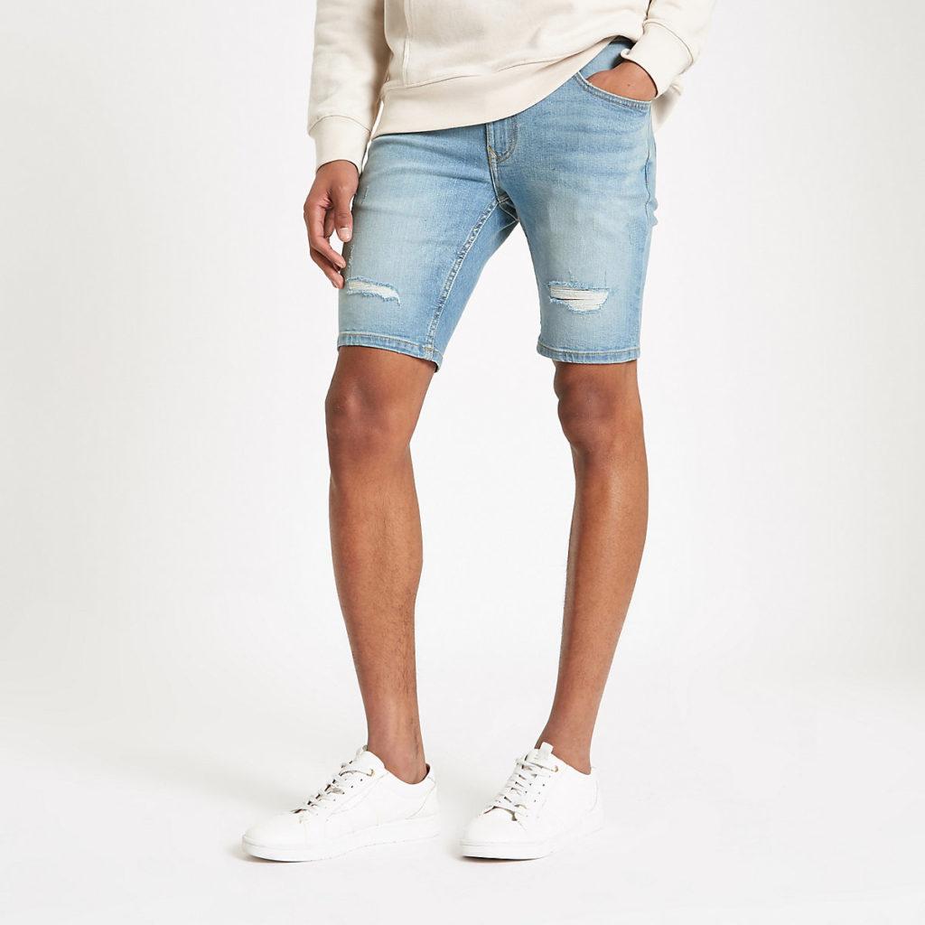 Light blue Sid skinny ripped denim shorts $64.00