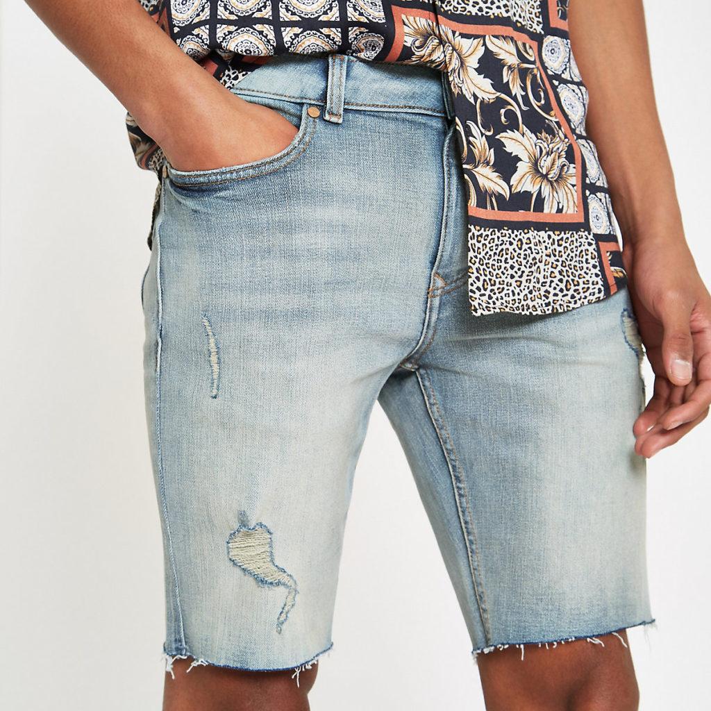 Light blue Sid skinny stretch denim shorts $64.00