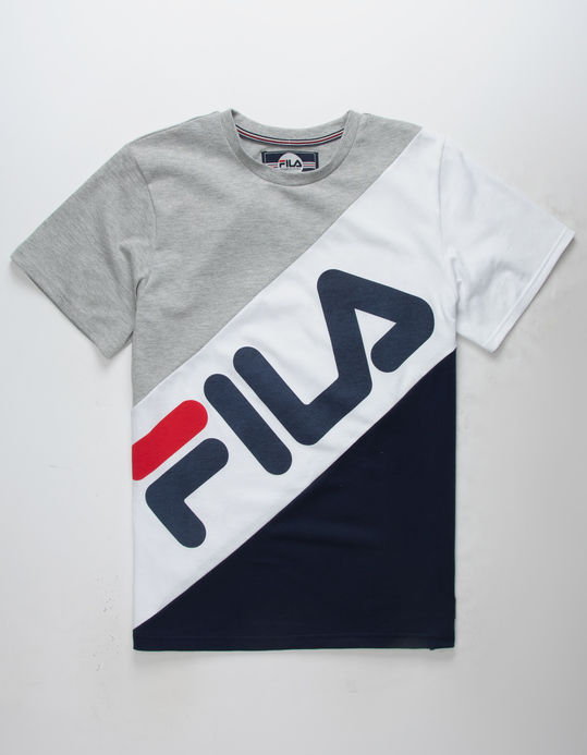 FILA Banner Striped Gray & Navy Boys T-Shirt $16.99