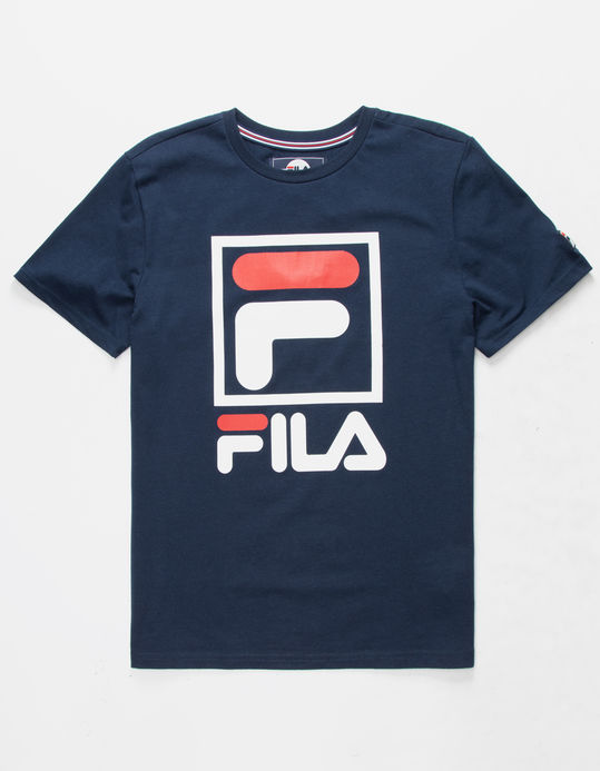 FILA Stacked Logo Navy Boys T-Shirt $15.99