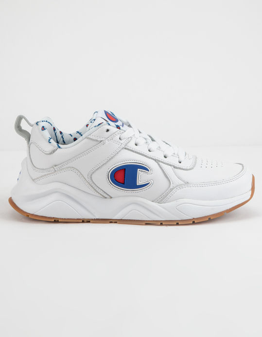 CHAMPION 93 Eighteen C Logo White Leather Boys Shoes $79.99