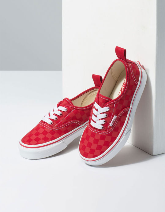 VANS Checkerboard Authentic Elastic Lace Tango Red Boys Shoes $36.99