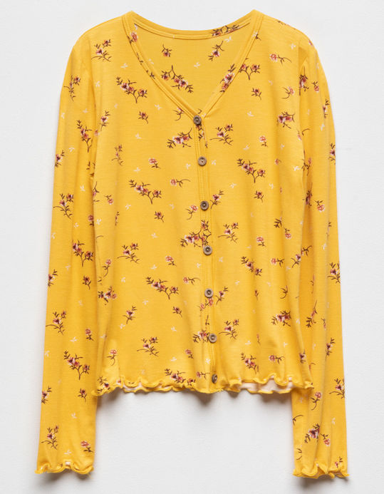 WHITE FAWN Floral Button Front Mustard Girls Top $18.99