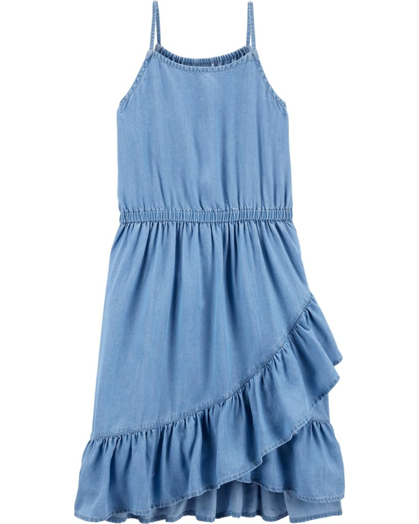 Chambray Ruffle Midi Dress $36.00