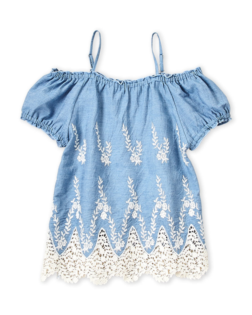 FLOWERS BY ZOE (Girls 7-16) Cold Shoulder Chambray Dress $14.99