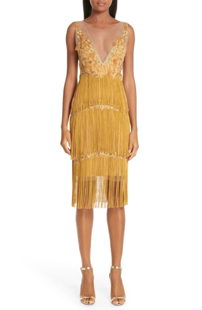 Embellished Tiered Fringe Dress MARCHESA NOTTE $795.00