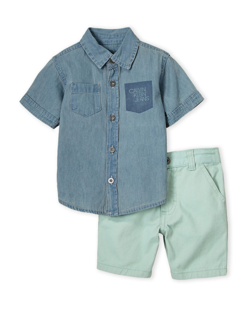 CALVIN KLEIN JEANS Two-Piece Woven Chambray Shirt & Light Green Shorts Set$19.99