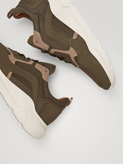 COMBINED KHAKI TRAINERS $130.00