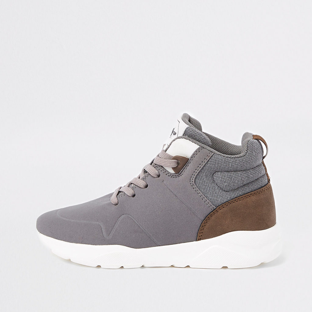 Boys grey hi-top runner sneakers $44.00