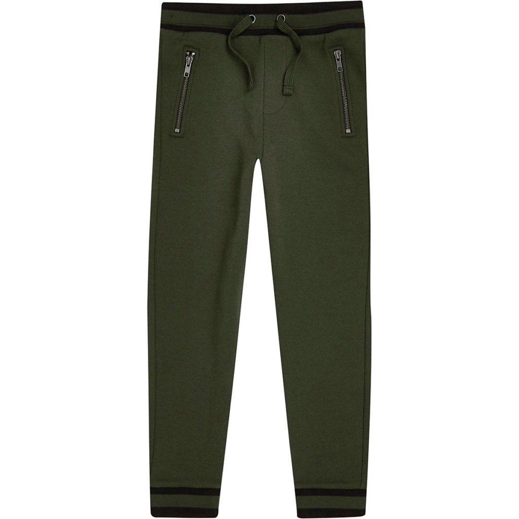 Boys khaki green tipped hem joggers $28.00