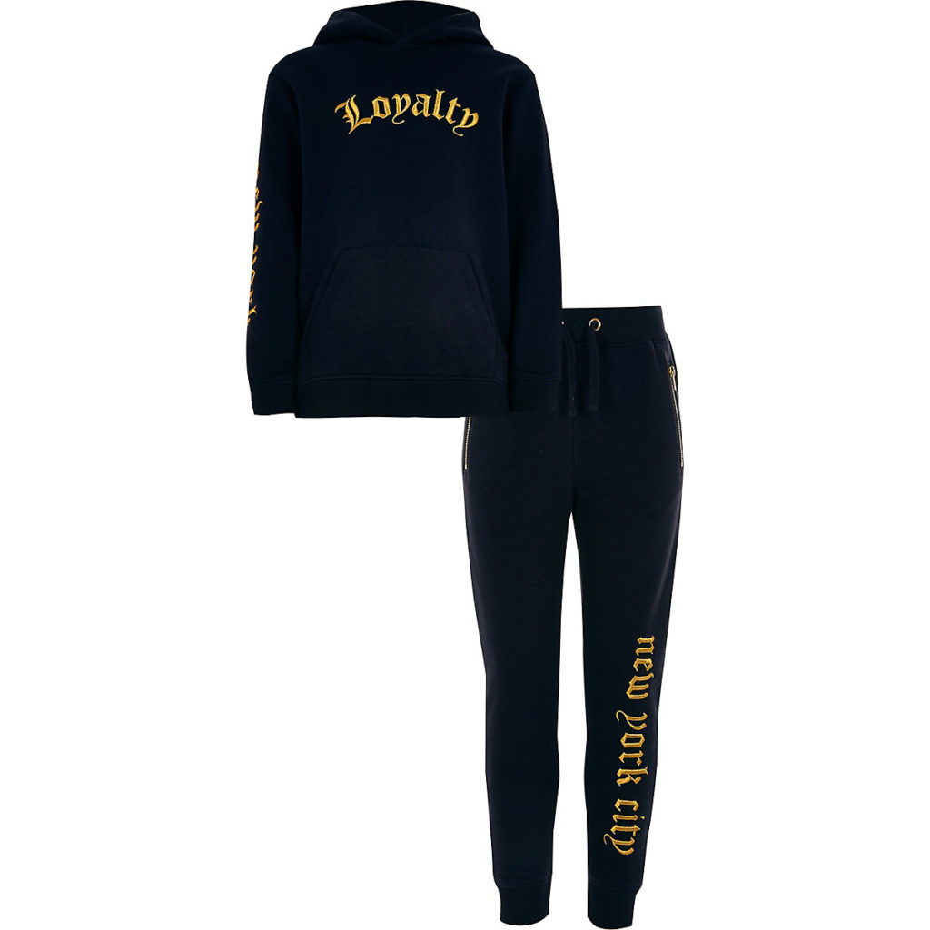 Boys navy 'Loyalty' hoodie outfit $60.00