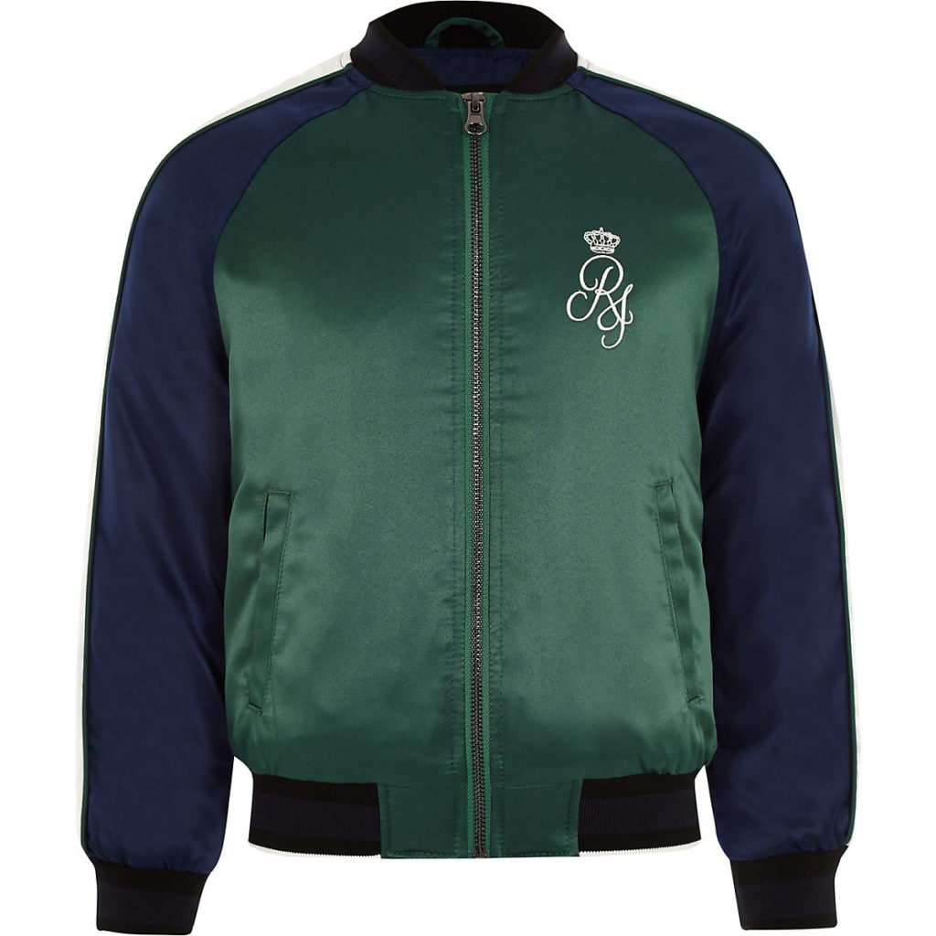 Boys navy sport bomber jacket $70.00