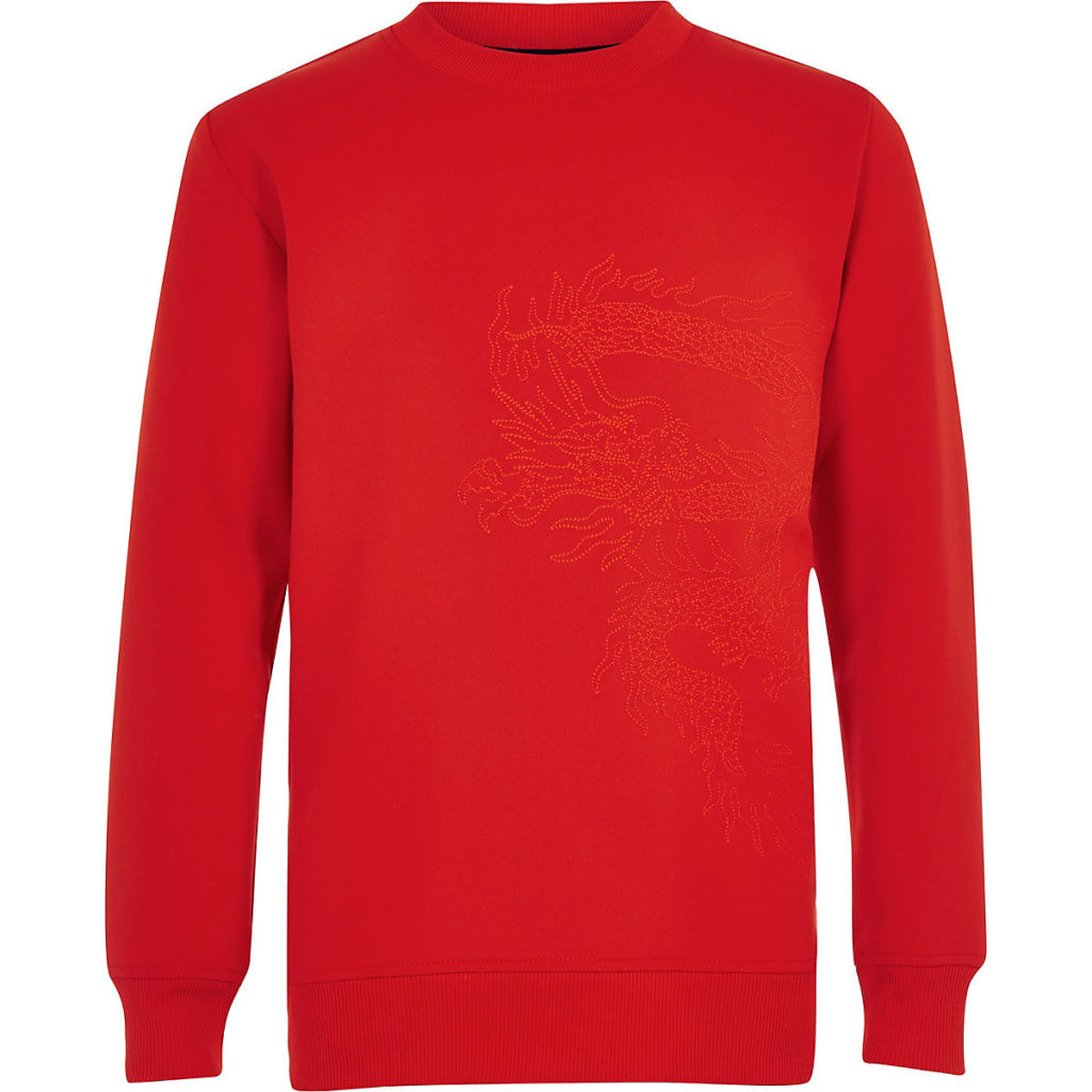 red scuba embroidered sweater $44.00