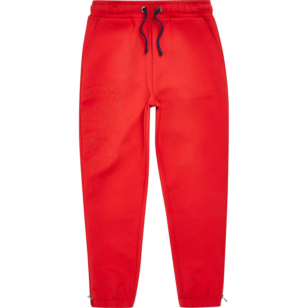 red scuba embroidered joggers $40.00