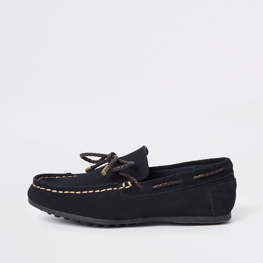 Boys navy tie front loafers $44.00
