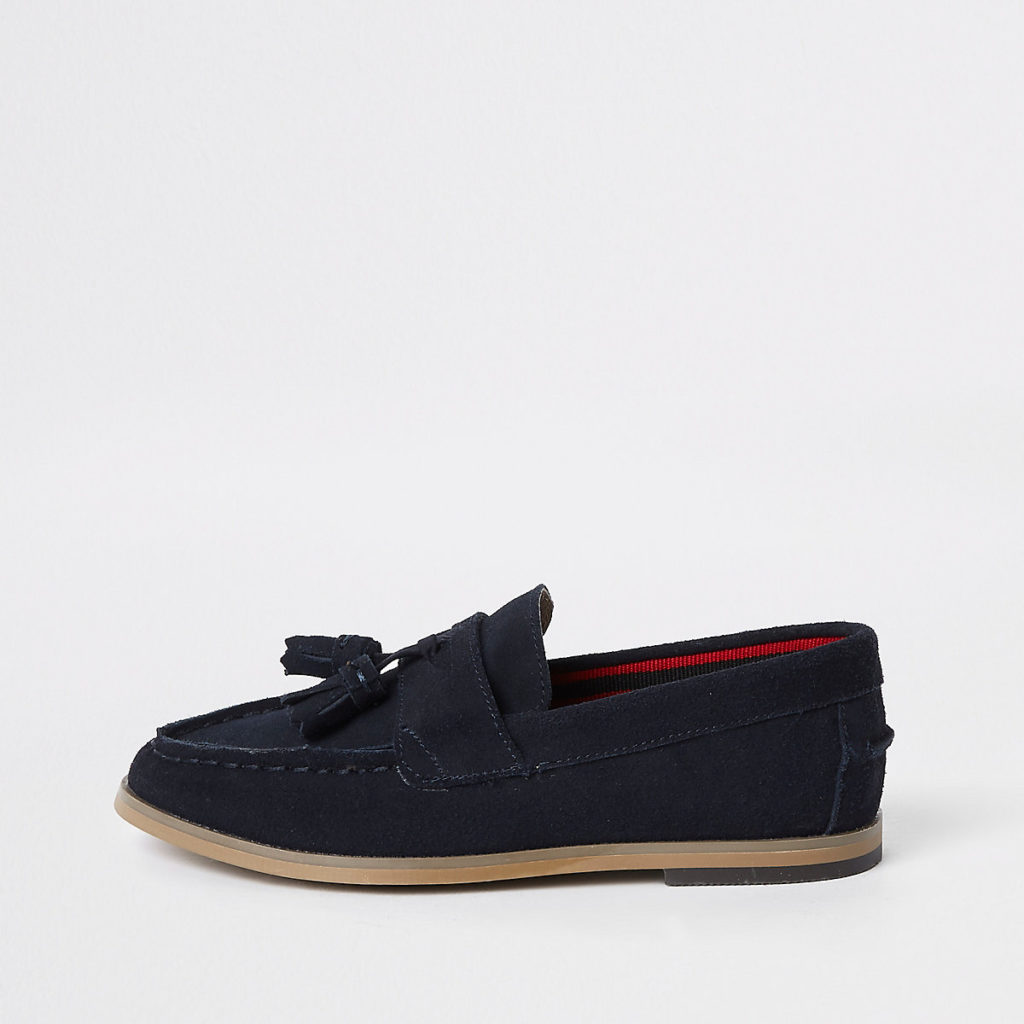 Boys navy tassel loafers $44.00