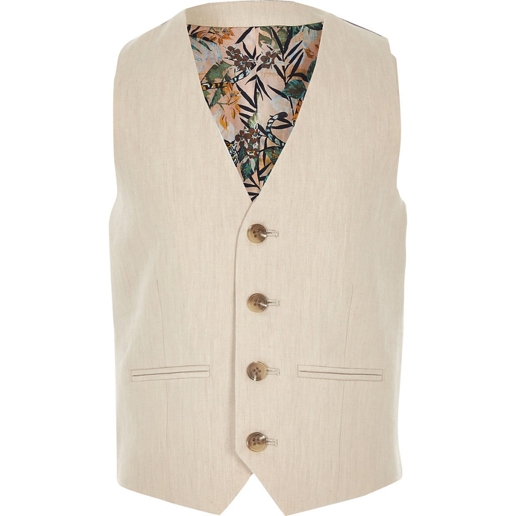 Boys cream linen suit vest $40.00