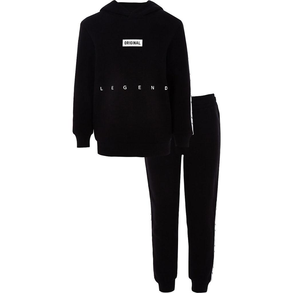 Boys black 'Legacy' tape hoodie outfit $60.00