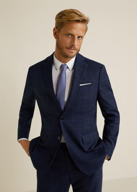 Slim-fit check suit blazer $139.99