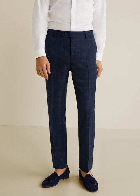 Slim-fit check suit trousers $69.99