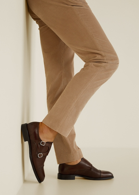 Leather monk-strap shoes $169.99
