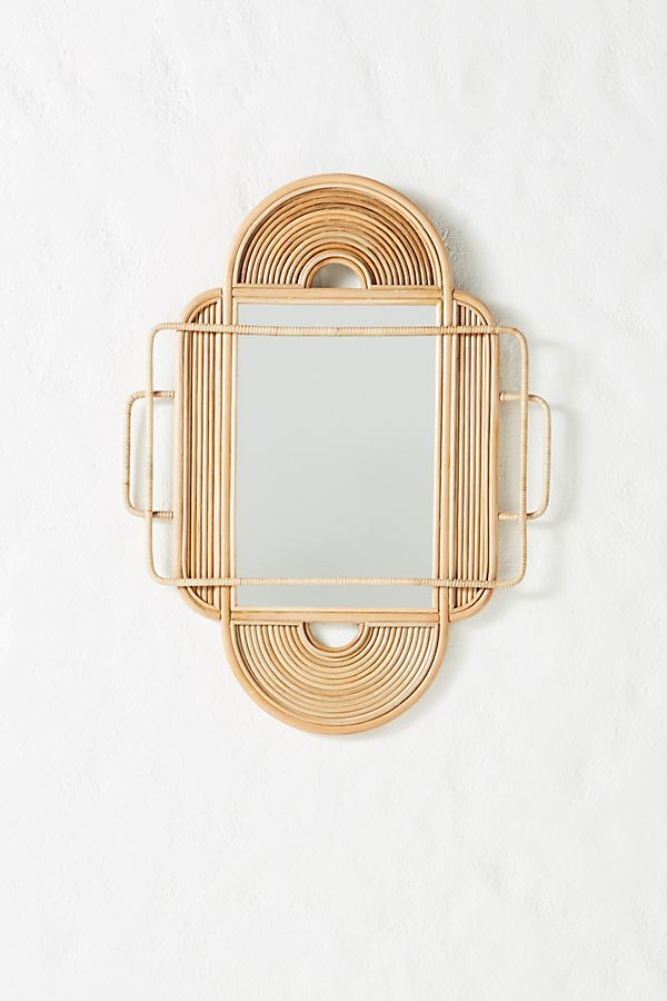Sculpted Rattan Mirror $228.00