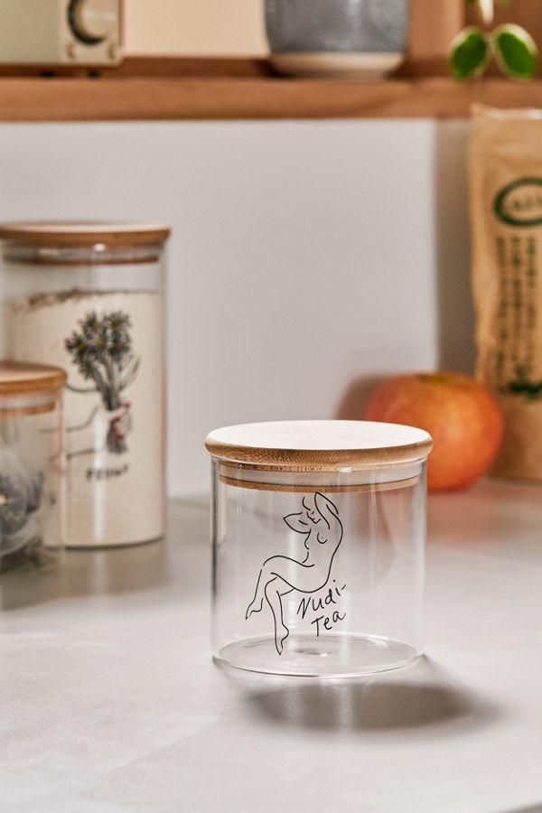 Small Wooden Lid Glass Storage Jar $8.00