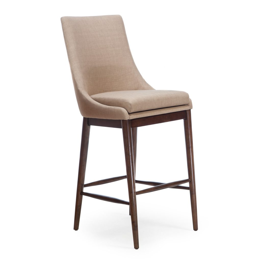 Mid-Century Modern Upholstered Bar-Height Stool $174.00
