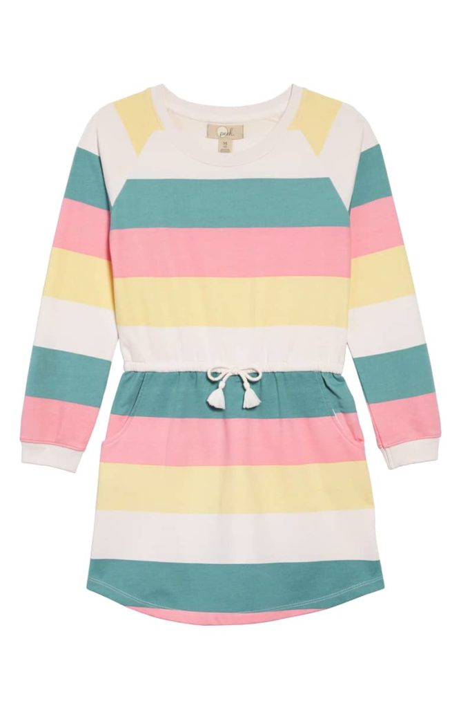 Brynn Stripe Sweatshirt Dress PEEK AREN'T YOU CURIOUS $38.00