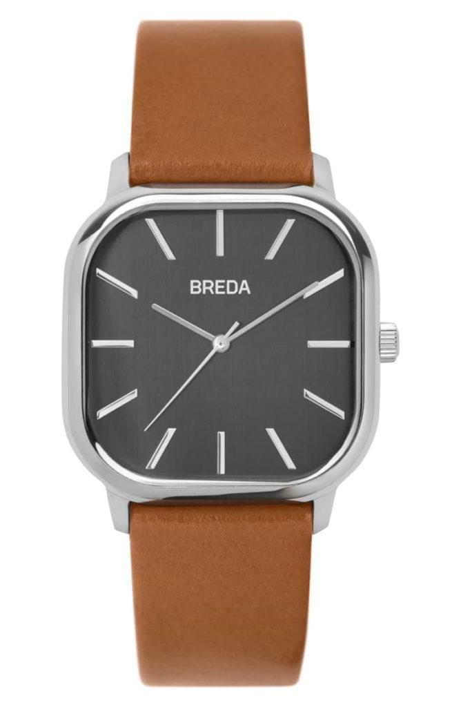 Visser Square Leather Strap Watch, 35mm BREDA $90.00