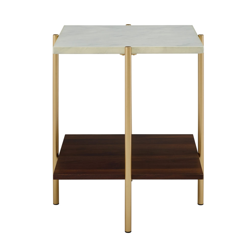 Mid-Century Modern Square Side Table - Marble/Gold $129.00