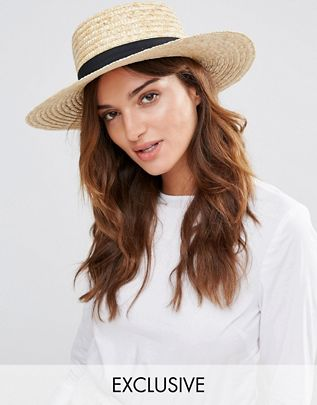 Straw Boater Hat with Black Band $16.00