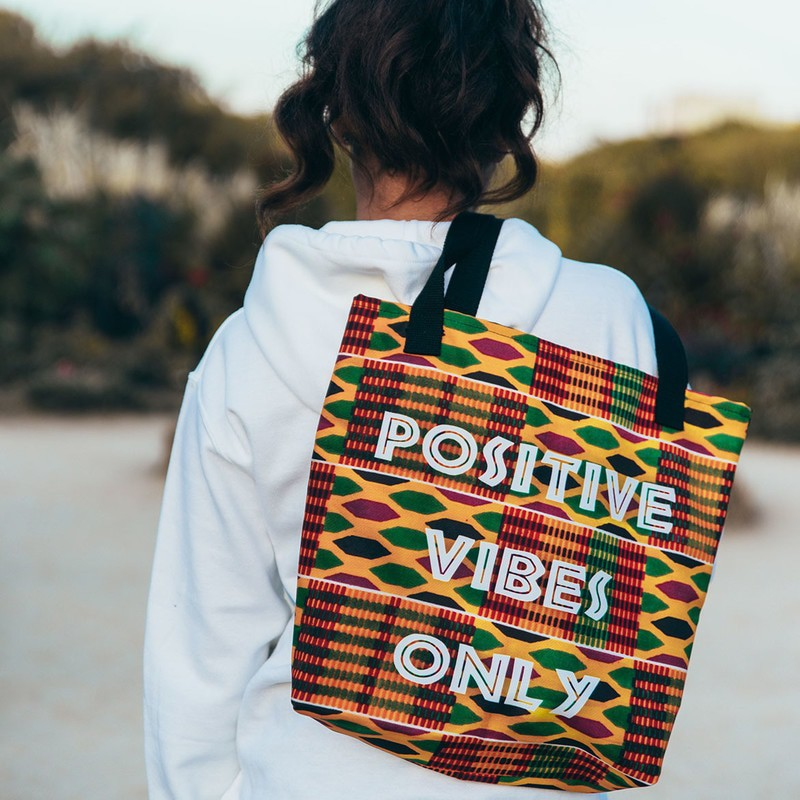 "Tote bag ""Positive Vibes Only"" $30.43"