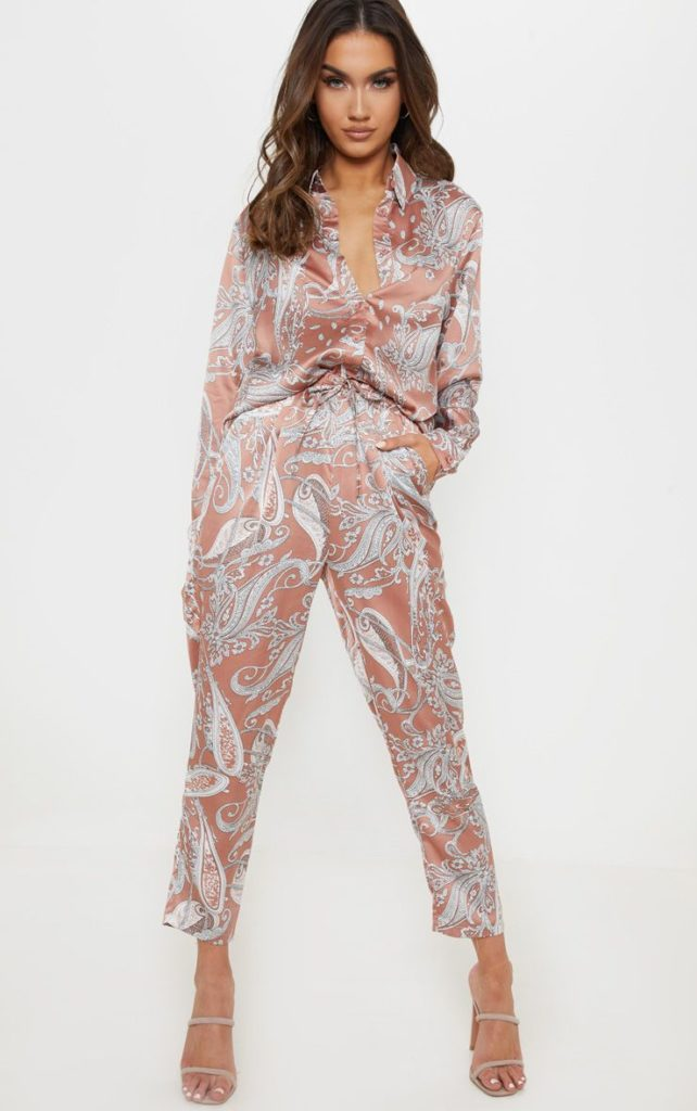 PEACH SATIN PAISLEY PRINTED CIGARETTE TROUSER $45.00