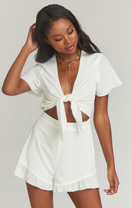 RIVIERA ROMPER ~ WHITE PEBBLE $98.00