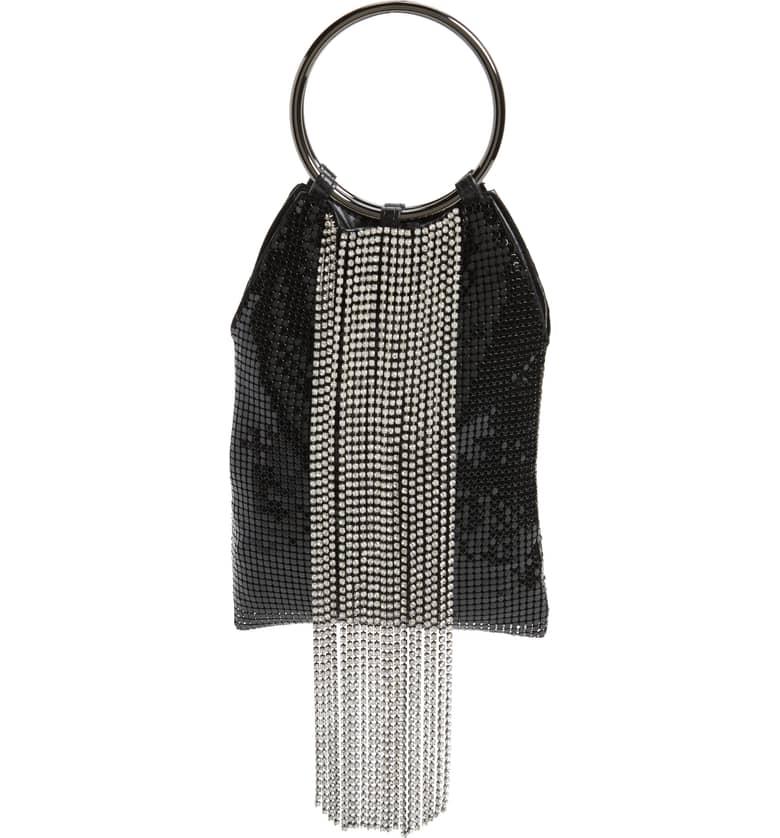 Cascade Crystal Fringe Mesh Bracelet Bag WHITING & DAVIS $275.00
