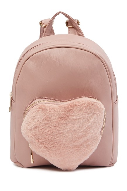 OMG! Accessories Mini Faux Fur Heart Backpack $21.97