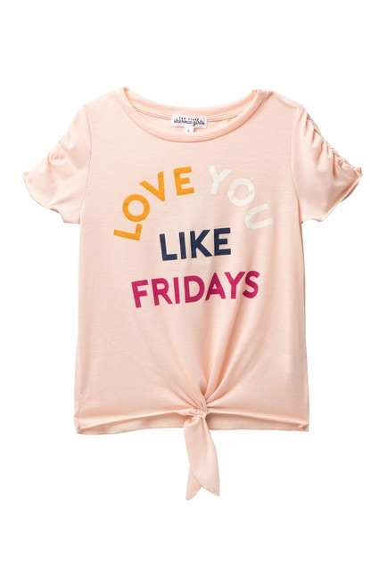 Ten Sixty Sherman Short Sleeve Tie Front Love You Like Friday Top $16.97
