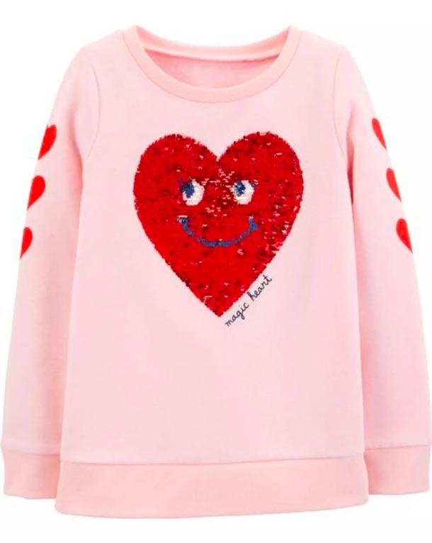 Flip Sequin Heart Fleece Sweatshirt $15.20